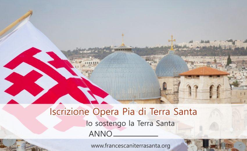 Cartolina dell'iscrizione all'Opera Pia di Terra Santa