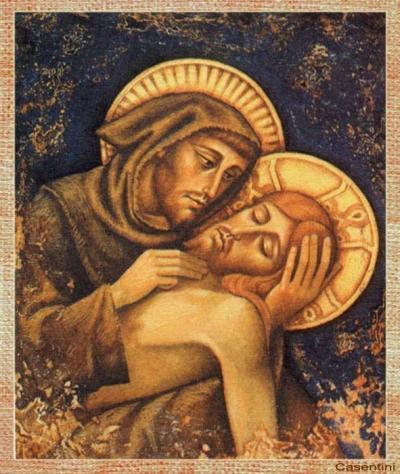 Affresco di San Francesco d'Assisi che abbraggia Cristo morto