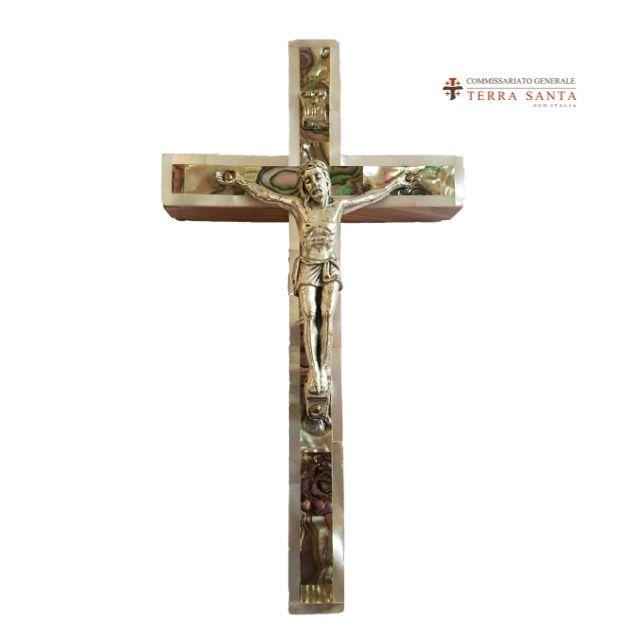Croce in legno e madreperla